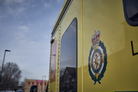 The side of an ambulance with the LAS logo visible